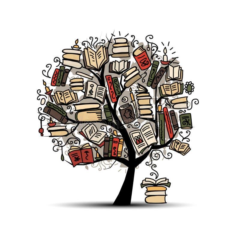 Książkowy drzewo, nakreślenie dla twój projekta ilustracja wektor
