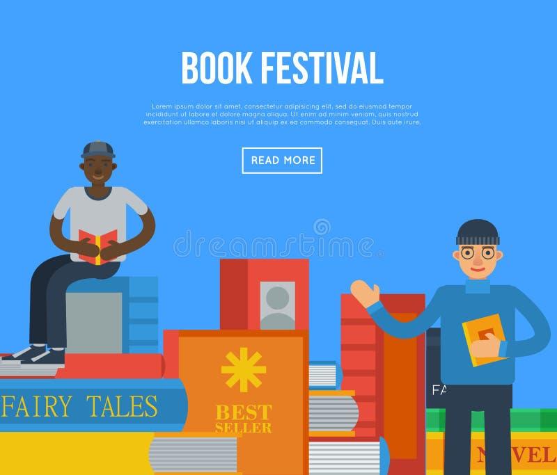 Książkowy festiwalu plakat z ludźmi czytelniczych książek ilustracja wektor