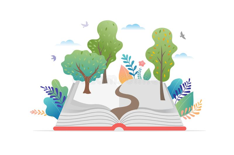 Książkowy festiwalu pojęcie - grupa malutcy ludzie czyta ogromnego otwiera książkę Wektorowa ilustracja, plakat i sztandar, royalty ilustracja