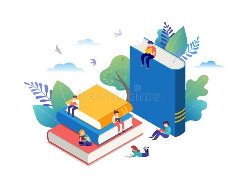 Książkowy festiwalu pojęcie - grupa malutcy ludzie czyta ogromnego otwiera książkę Wektorowa ilustracja, plakat i sztandar, ilustracji