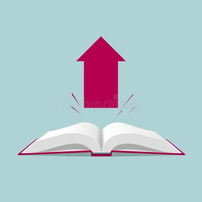 Książkowy i strzałkowaty symbol ilustracja wektor