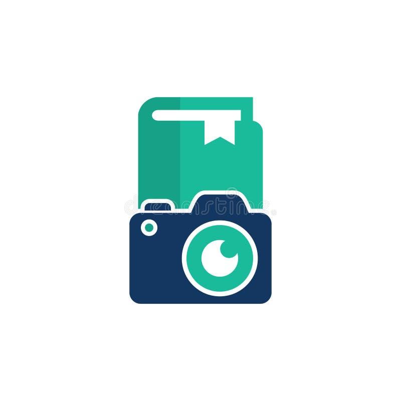 Książkowy kamera loga ikony projekt ilustracja wektor