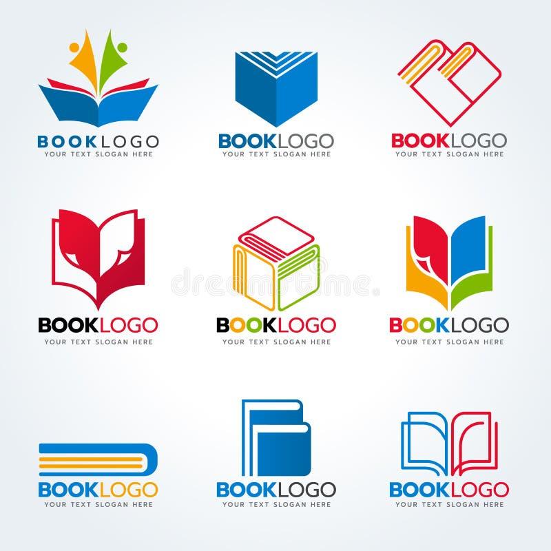 Książkowy logo dla edukaci i biznesu wektoru ustalonego projekta ilustracji