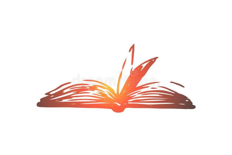 Książkowy, otwarty, papierowy, literatura, wiedzy pojęcie Ręka rysujący odosobniony wektor ilustracja wektor