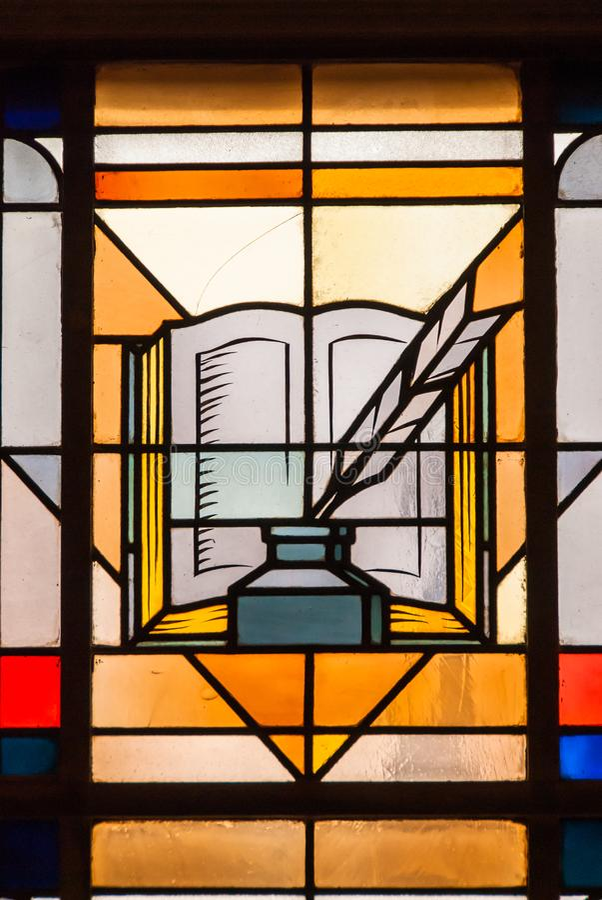 Książkowy piórkowy atramentu symbolu witrażu okno obraz stock