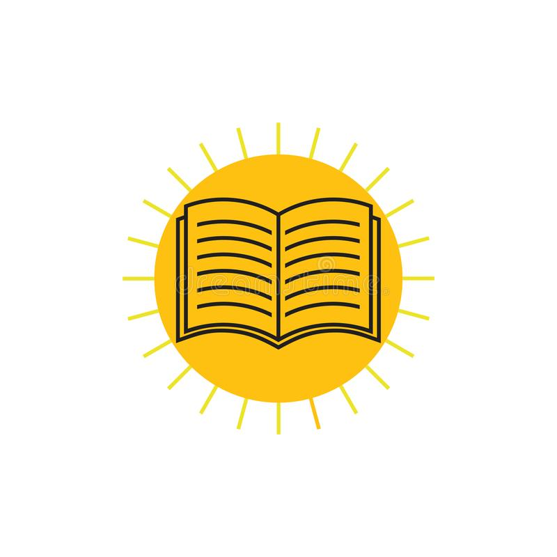 Książkowy połysku słońca edukacji logo wektor ilustracji