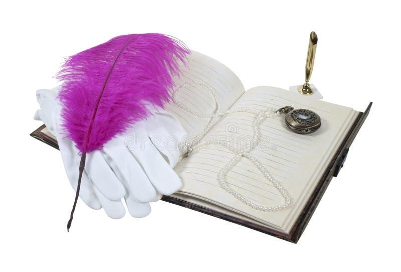 książkowy rękawiczek pióra zegarek fotografia royalty free