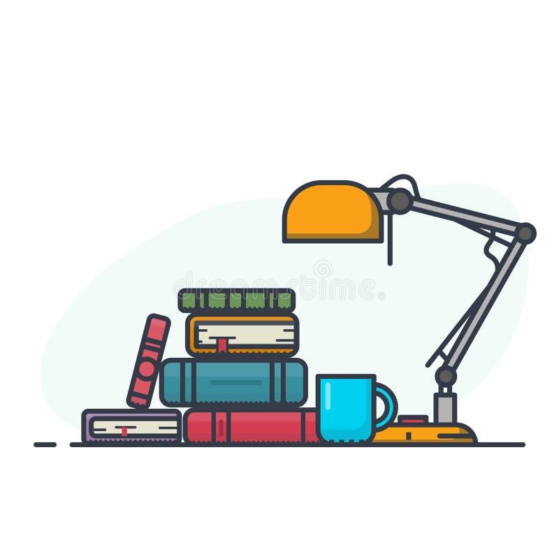 Książkowy stos i lampa ilustracja wektor