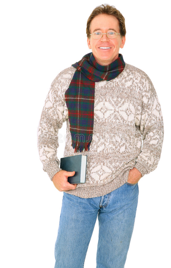 książkowy szczęśliwy mienie odizolowywający mężczyzna senior zdjęcie stock