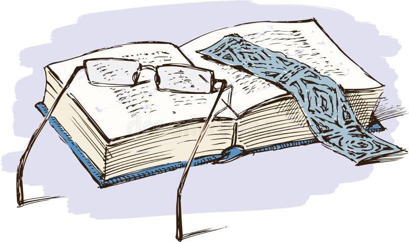 książkowych eyeglasses stylowy rocznik ilustracja wektor