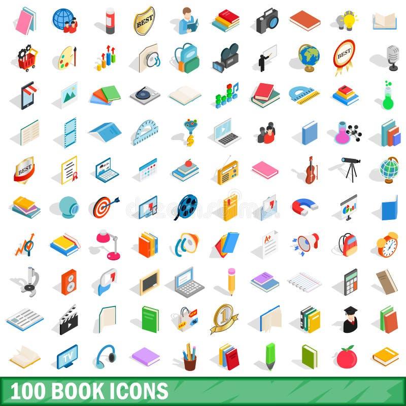 100 książkowych ikon ustawiających, isometric 3d styl ilustracja wektor