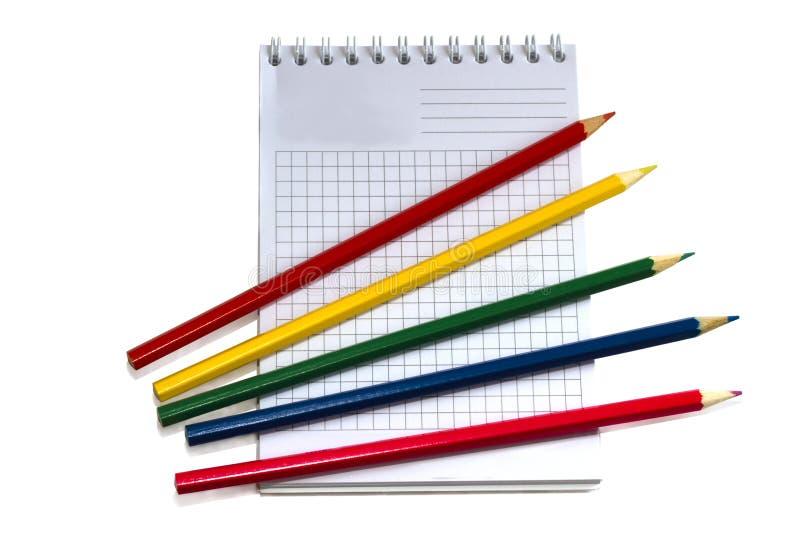 książkowych ołówków biały writing zdjęcie stock
