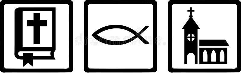 Ksiądz ikon znaków biblii kościół ilustracji