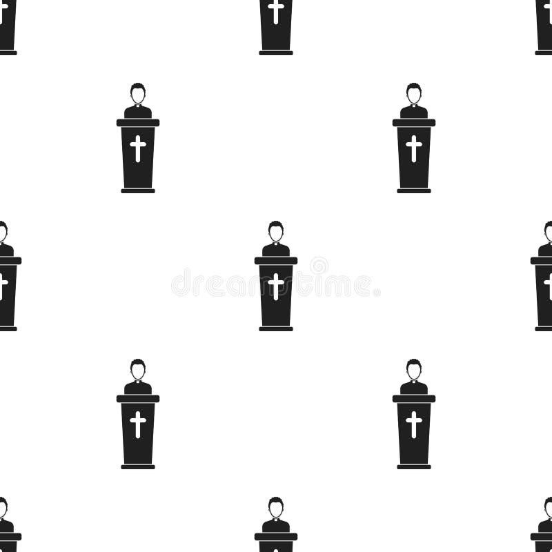 Ksiądz ikona w czerń stylu odizolowywającym na białym tle Religia wzoru zapas royalty ilustracja