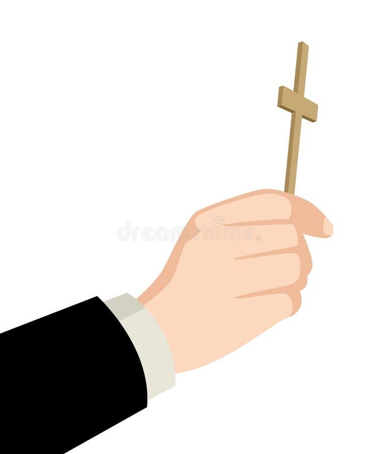 Ksiądz ręka trzyma świętego krzyż royalty ilustracja