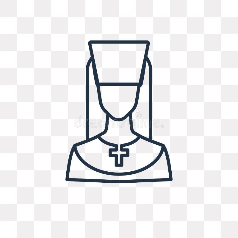 Ksiądz wektorowa ikona odizolowywająca na przejrzystym tle, liniowy Pr ilustracja wektor