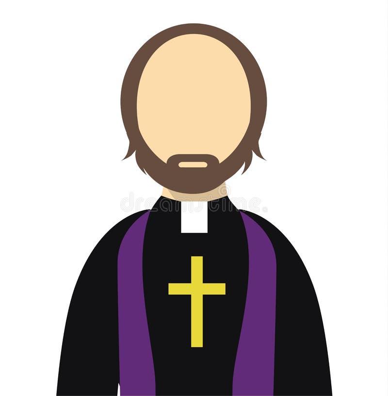 Ksiądz, Wielebny Płaski wektor/Odizolowywaliśmy - ksiądz płaską ikonę z krzyżem ilustracji