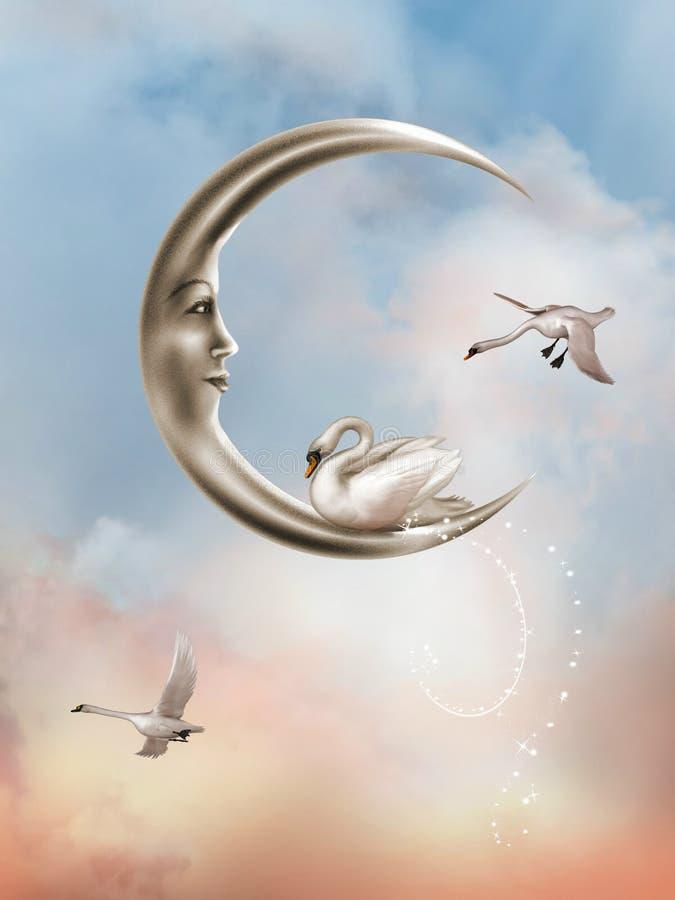 księżyc łabędź royalty ilustracja