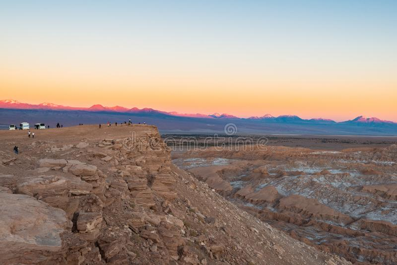 Księżyc dolina przy Solankowym pasmem górskim, San Pedro De Atacama, Atacama pustynia, Chile obrazy royalty free