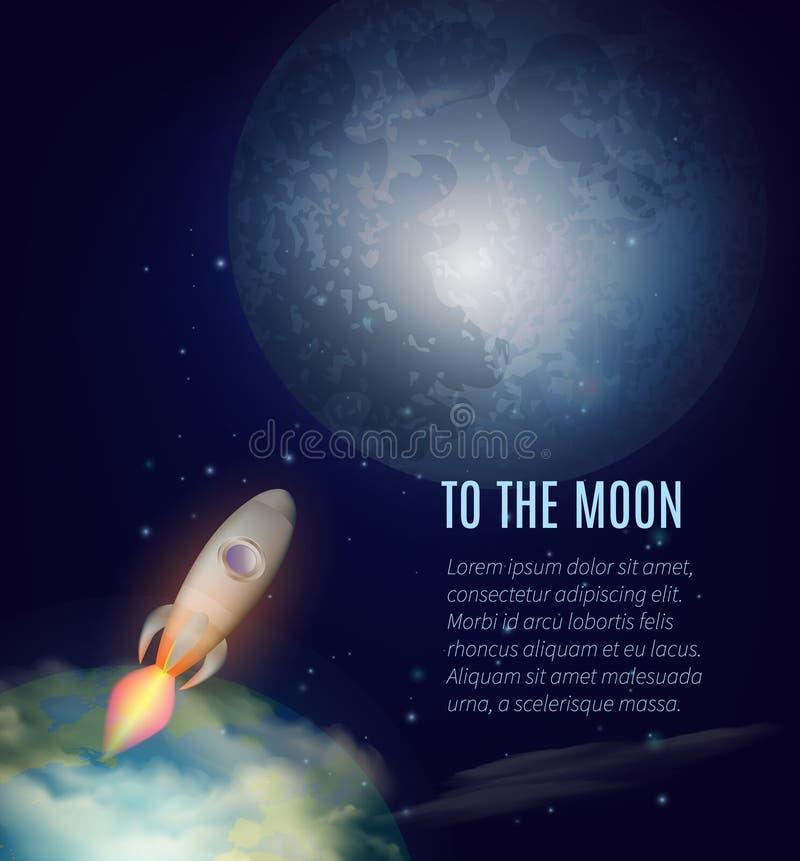Księżyc eksploraci plakat ilustracja wektor