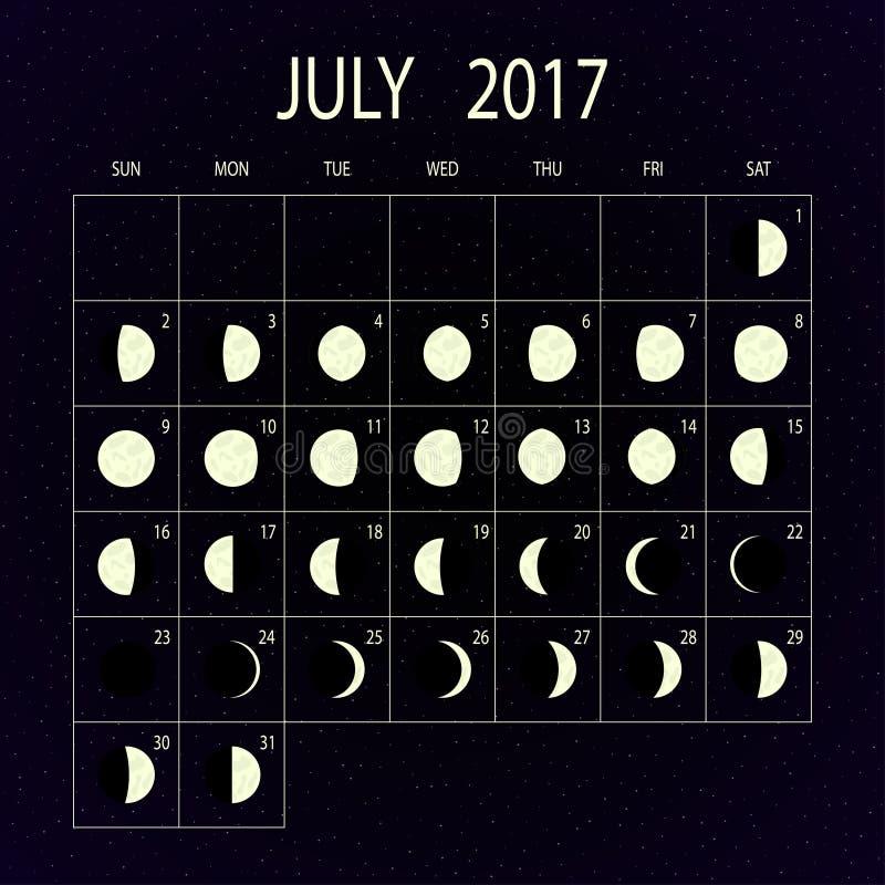Księżyc faz kalendarz dla 2017 bigos również zwrócić corel ilustracji wektora royalty ilustracja