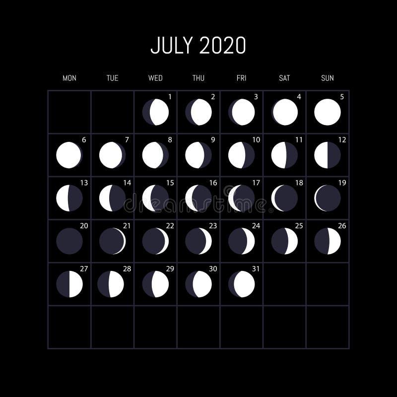 Księżyc faz kalendarz dla 2020 rok bigos Nocy t?a projekt r?wnie? zwr?ci? corel ilustracji wektora ilustracji