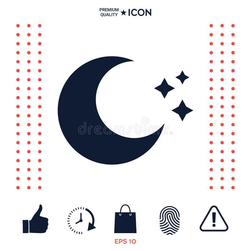 Księżyc gra główna rolę ikonę ilustracja wektor