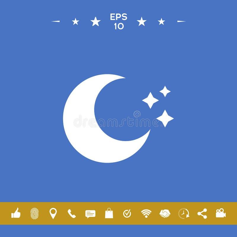 Księżyc gra główna rolę ikonę royalty ilustracja