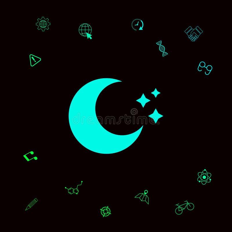 Księżyc gra główna rolę ikonę Graficzni elementy dla twój designt ilustracji