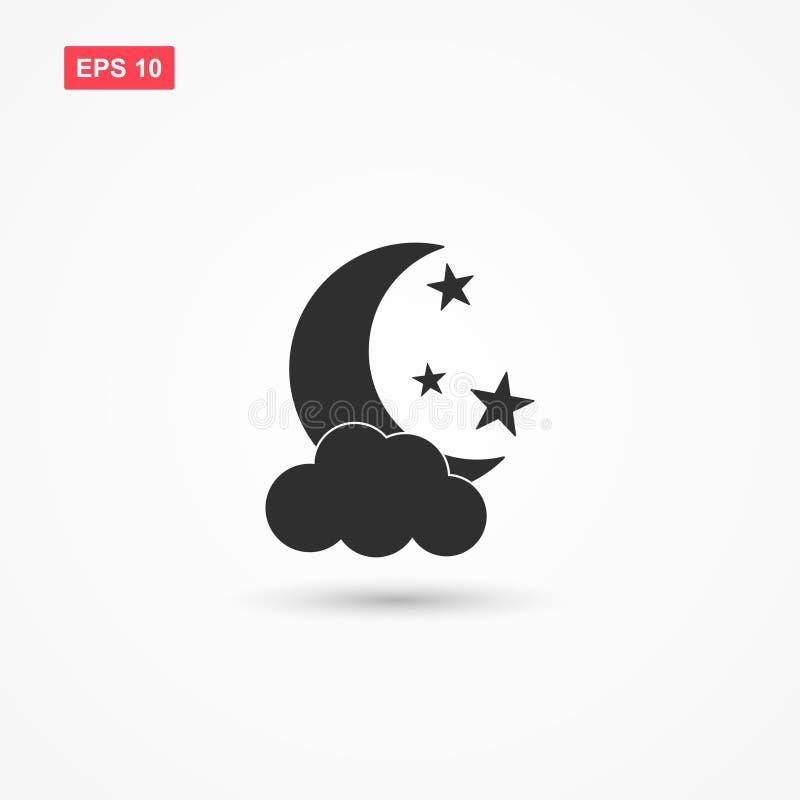 Księżyc gra główna rolę ikona wektor z chmurą 2 ilustracji