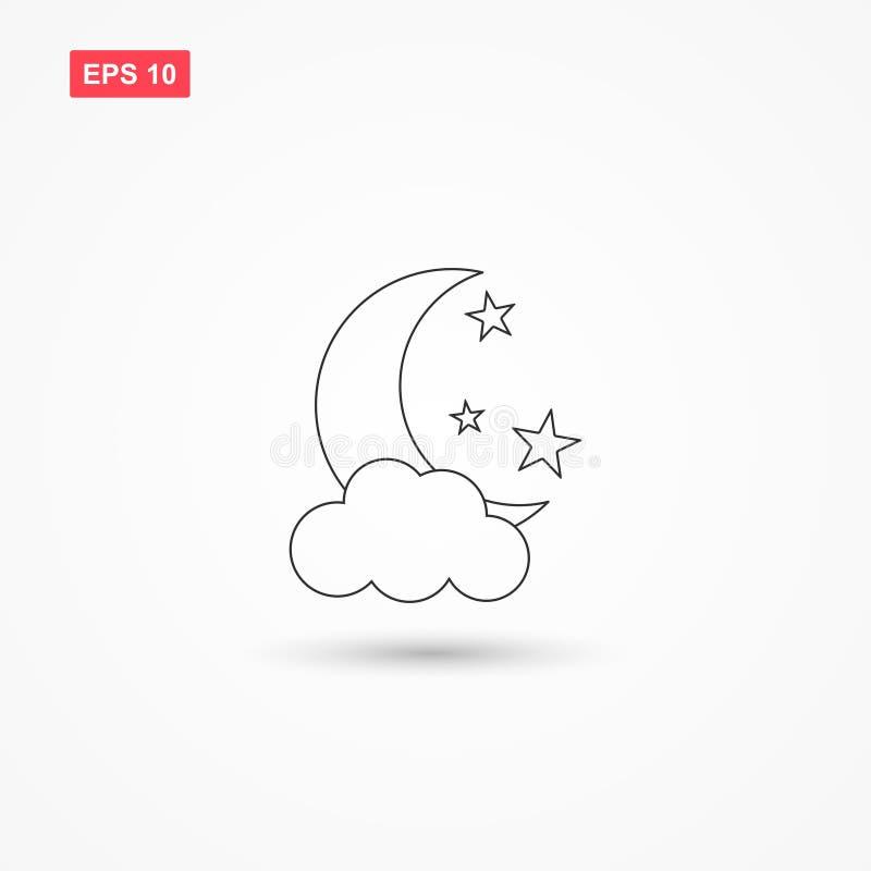 Księżyc gra główna rolę ikona wektor z chmurą 1 royalty ilustracja