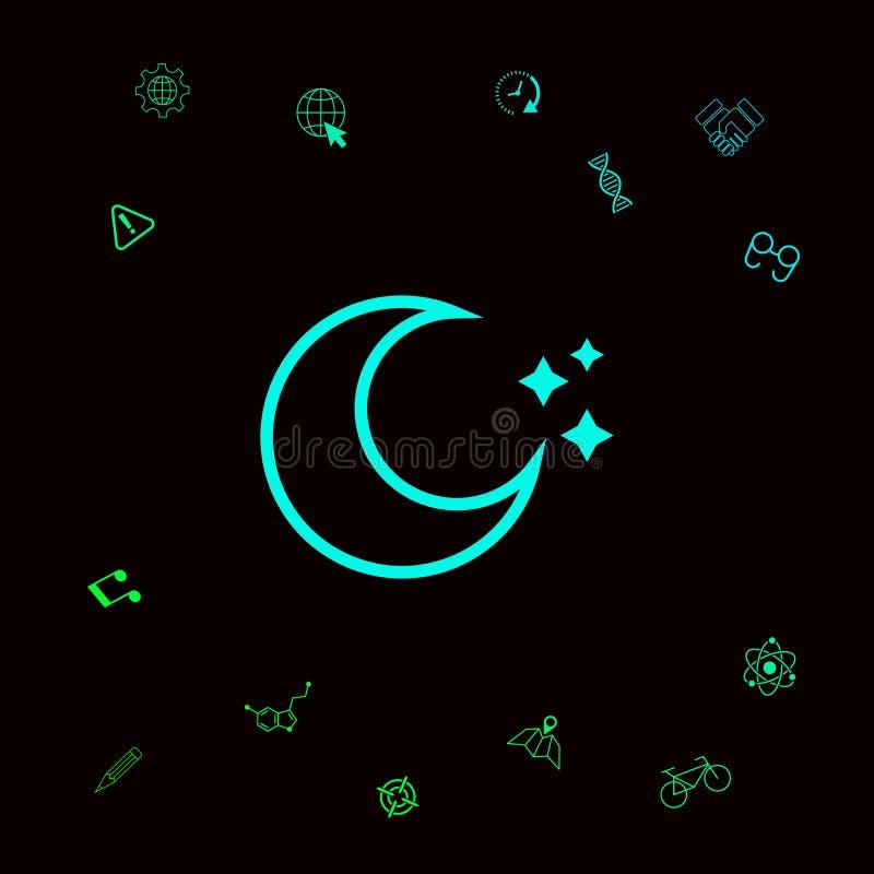 Księżyc gwiazd kreskowa ikona Graficzni elementy dla twój designt ilustracja wektor