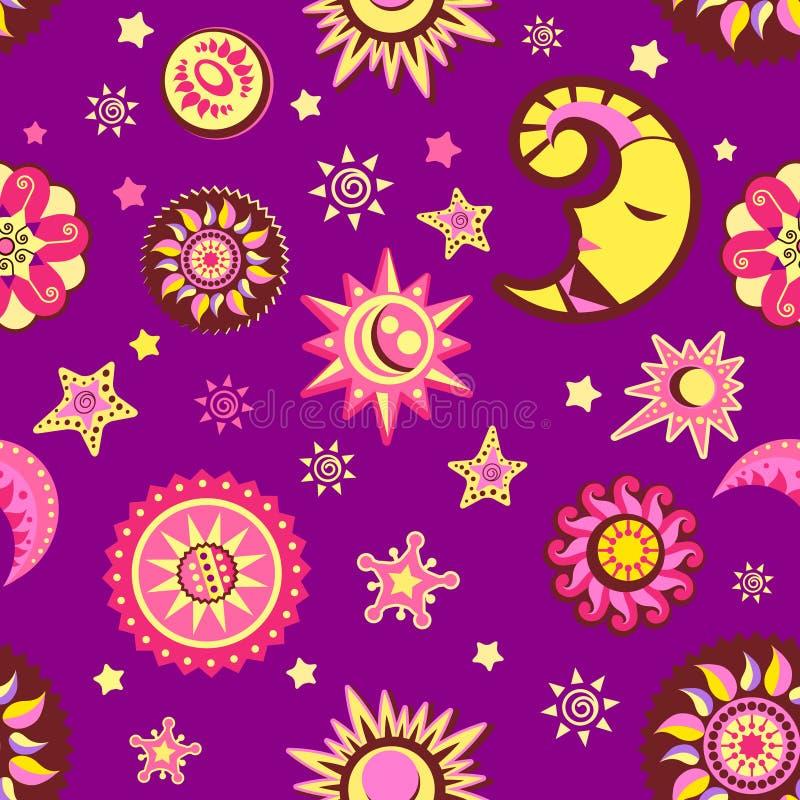 księżyc gwiazda deseniowa bezszwowa ilustracja wektor
