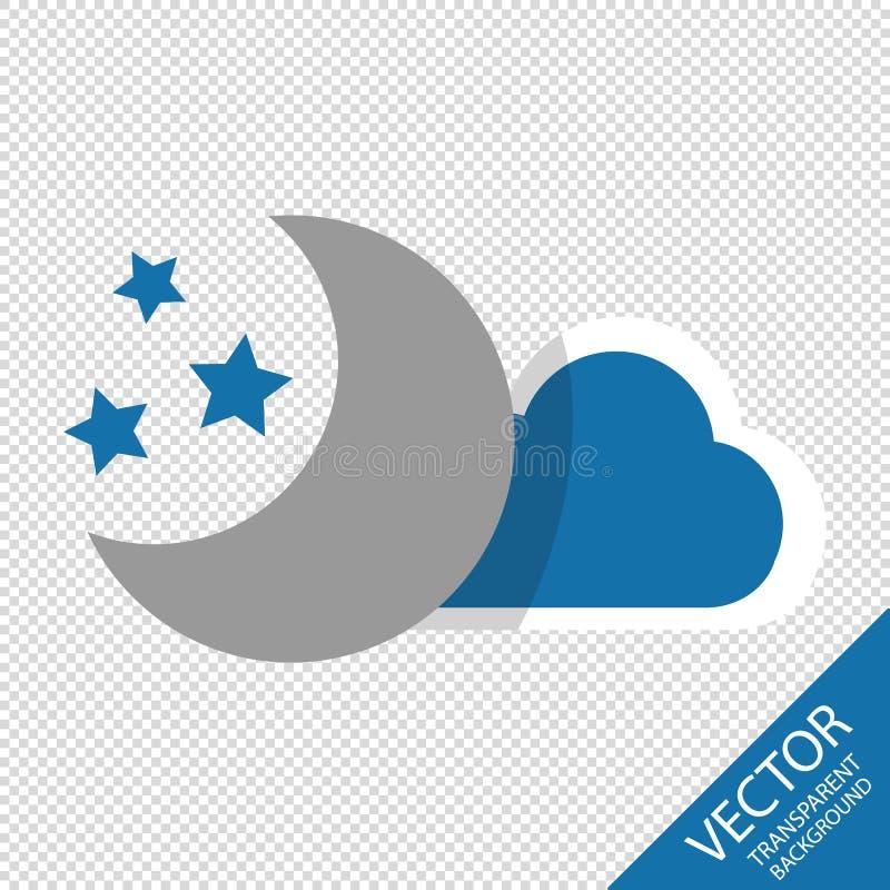 Księżyc, gwiazdy I błękit Obłoczne ikony Odizolowywać Na Przejrzystym tle, - Wektorowa ilustracja - royalty ilustracja