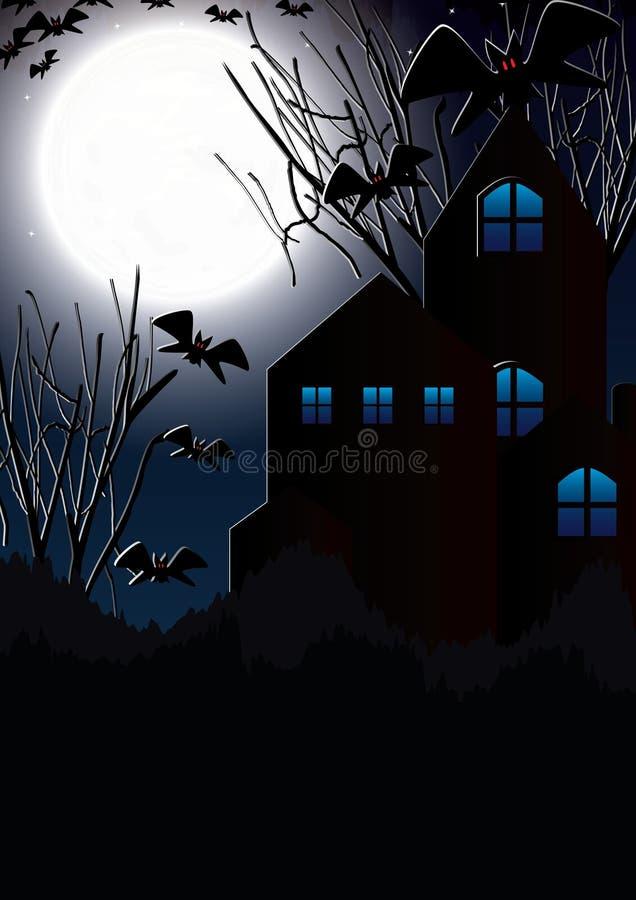 Księżyc halloweenowy Nietoperz House_eps ilustracja wektor