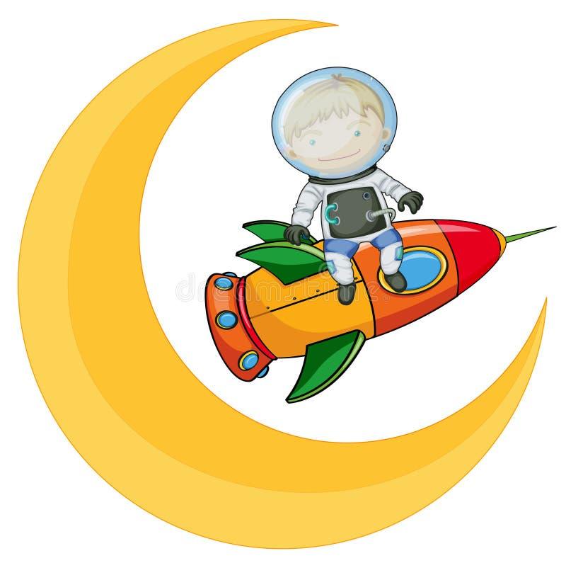 Księżyc i chłopiec na rakiecie royalty ilustracja