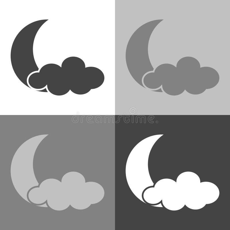 Księżyc i chmury ikona Pogodowa forecastVector pogoda ustawiająca na whi ilustracja wektor