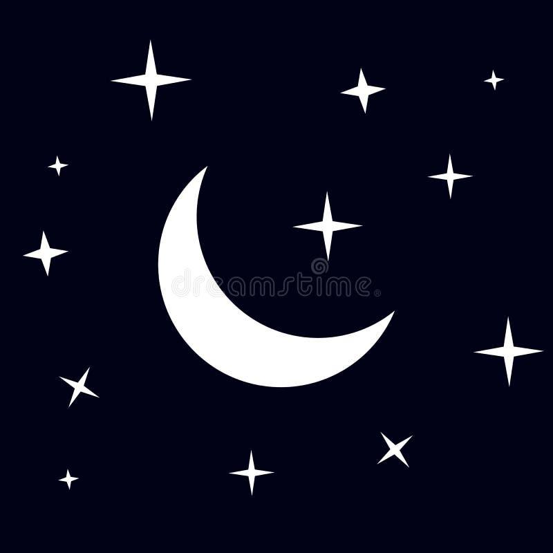 Księżyc i gwiazd ikona royalty ilustracja