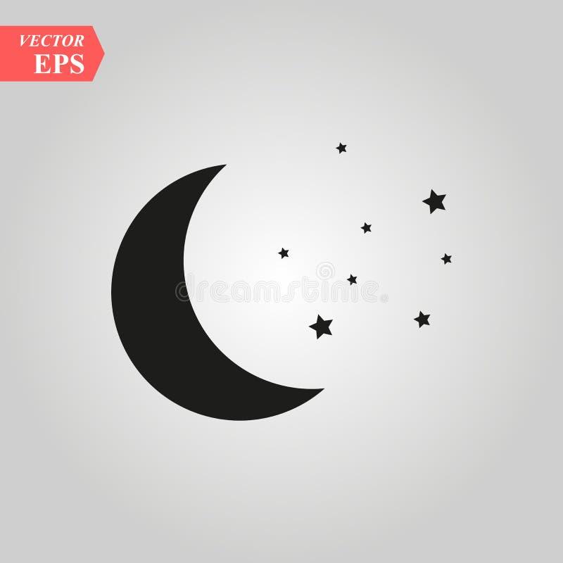 Księżyc i gwiazd ikony ilustracja odizolowywający wektor podpisuje symbol ilustracji