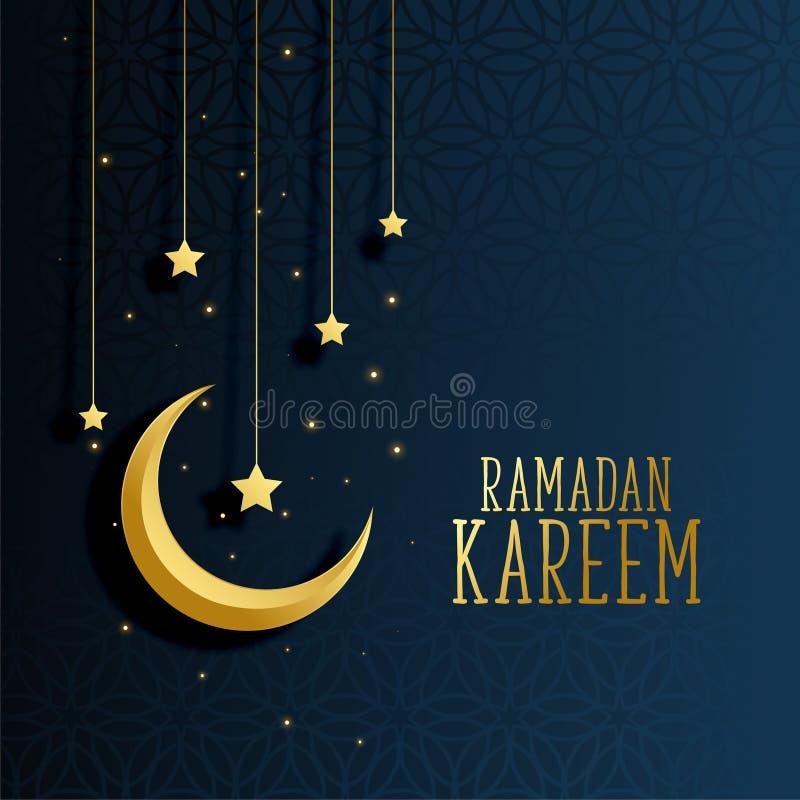 Księżyc i gwiazd Ramadan kareem tło ilustracji
