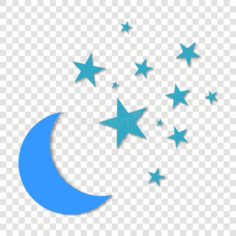 Księżyc i gwiazd Vctor ikona Kolor żółty gra główna rolę na błękitnym nocnym niebie na a ilustracji