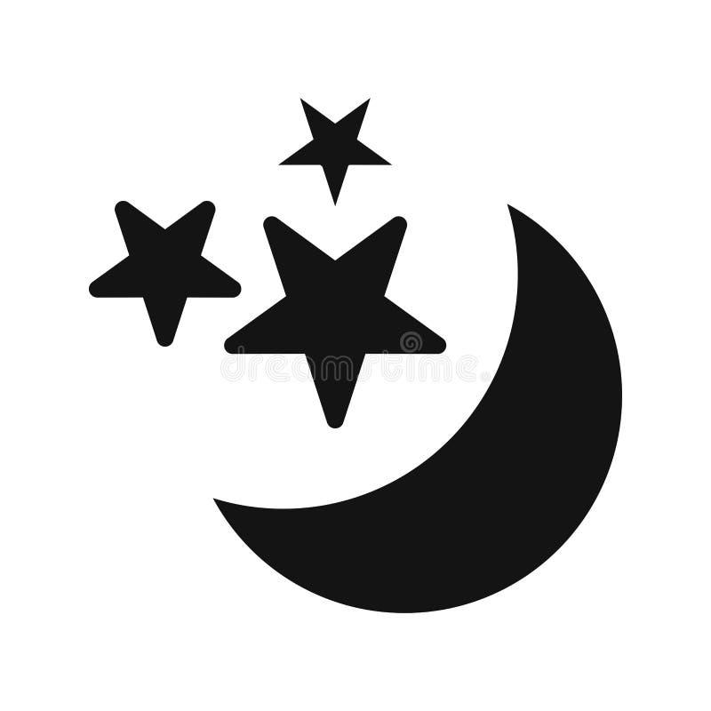 Księżyc i gwiazd wektoru ikona ilustracji