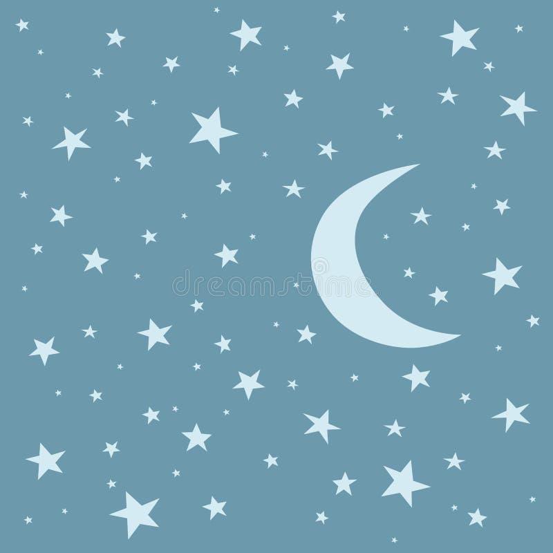 Księżyc i gwiazdy ilustracja wektor
