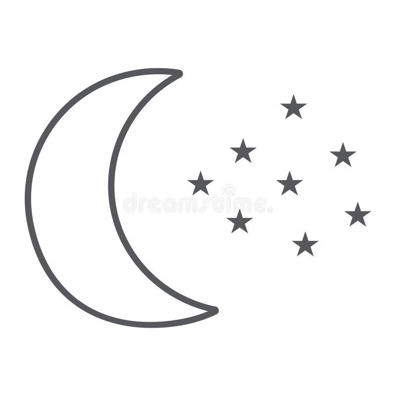 Księżyc i gwiazdy cieniejemy kreskową ikonę, noc i prognozę, nocne niebo znak, wektorowe grafika, liniowy wzór na bielu ilustracja wektor