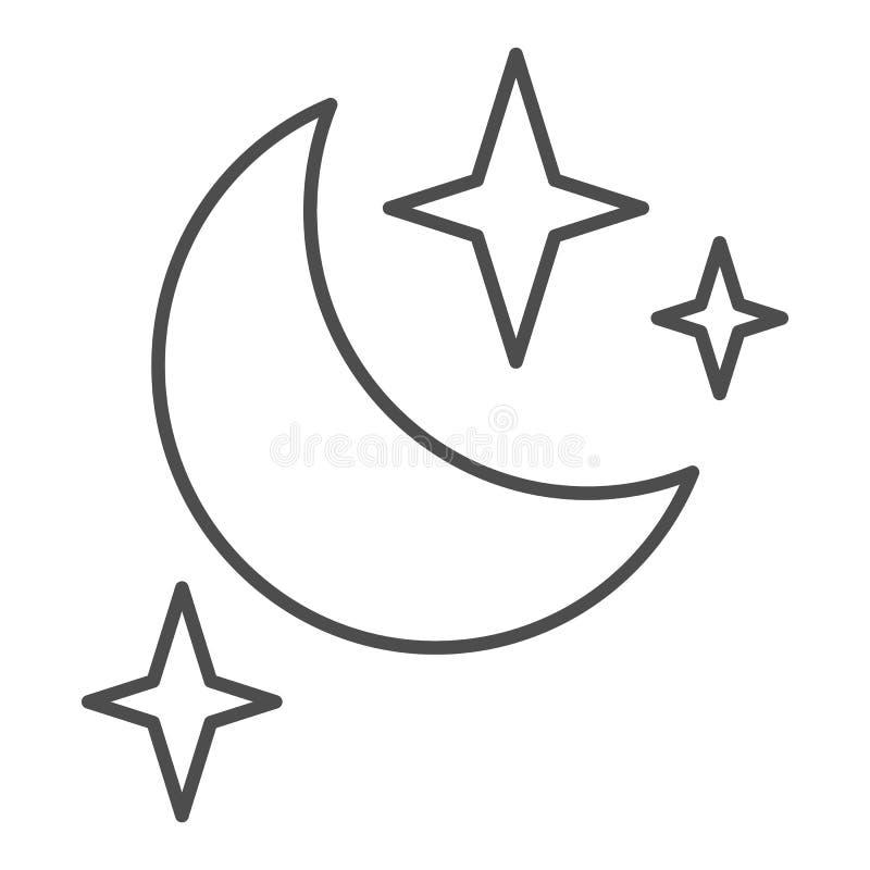 Księżyc i gwiazdy cieniejemy kreskową ikonę Nocy wektorowa ilustracja odizolowywająca na bielu Sen konturu stylu projekt, projekt royalty ilustracja