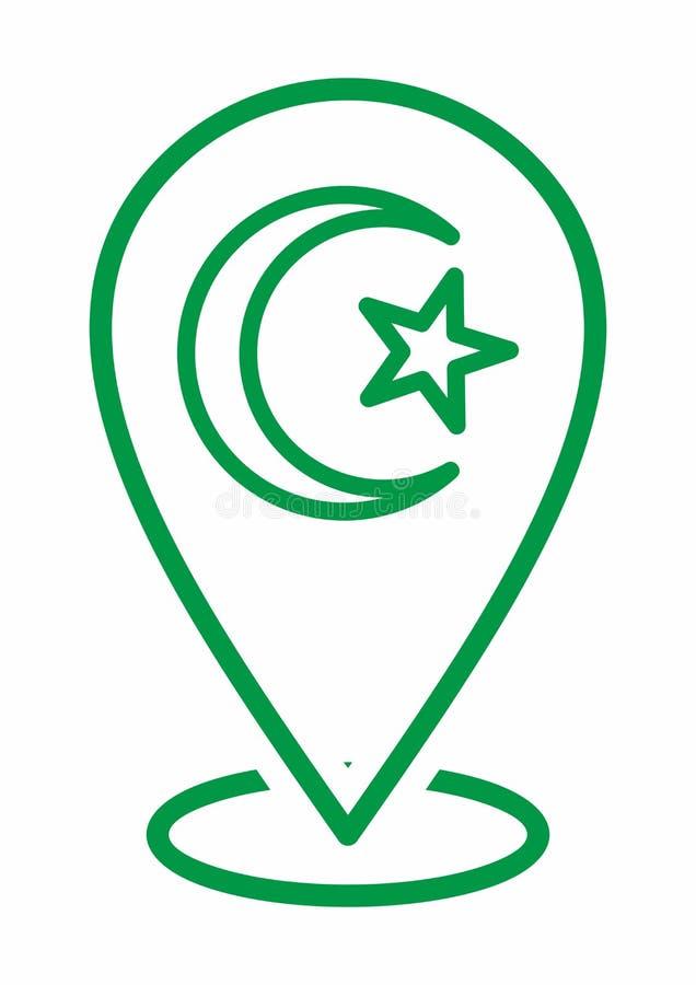 Księżyc i gwiazdy ikony logo Islamski szyldowy symbol muslim ja modl? si? kareem Ramadan lokacji ikona Dla Wielo- zamierza Mapa m royalty ilustracja