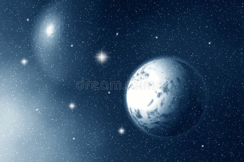 Księżyc i gwiazdy przy noc ilustracja wektor