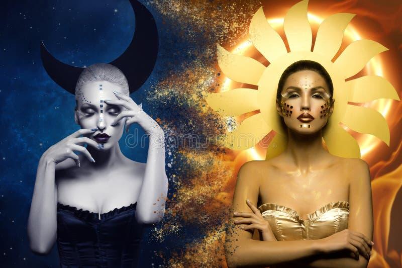 Księżyc i słońca dziewczyny zdjęcia royalty free
