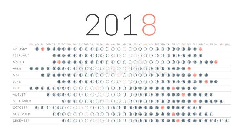 Księżyc kalendarz 2018 ilustracja wektor