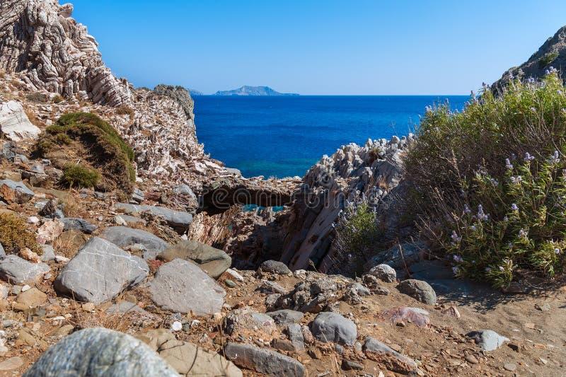 Księżyc krajobraz na Crete wyspie, Grecja obrazy stock